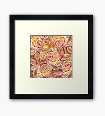 Watercolor Hand-Painted Red Yellow Autumn Fall Roses Framed Print