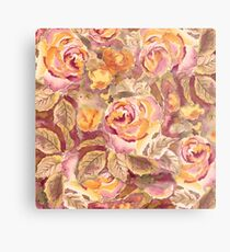 Watercolor Hand-Painted Red Yellow Autumn Fall Roses Metal Print