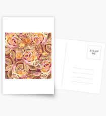Watercolor Hand-Painted Red Yellow Autumn Fall Roses Postcards