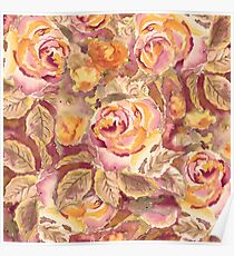 Watercolor Hand-Painted Red Yellow Autumn Fall Roses Poster
