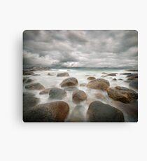 stone beach after the rain Canvas Print