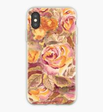 Watercolor Hand-Painted Red Yellow Autumn Fall Roses iPhone Case