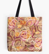 Watercolor Hand-Painted Red Yellow Autumn Fall Roses Tote Bag