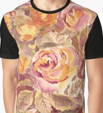 Watercolor Hand-Painted Red Yellow Autumn Fall Roses Graphic T-Shirt