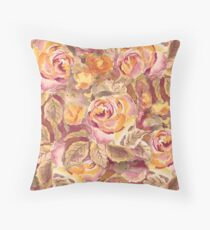 Watercolor Hand-Painted Red Yellow Autumn Fall Roses Floor Pillow