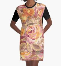 Watercolor Hand-Painted Red Yellow Autumn Fall Roses Graphic T-Shirt Dress