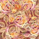 Watercolor Hand-Painted Red Yellow Autumn Fall Roses by Beverly Claire Kaiya