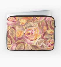 Watercolor Hand-Painted Red Yellow Autumn Fall Roses Laptop Sleeve