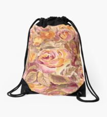 Watercolor Hand-Painted Red Yellow Autumn Fall Roses Drawstring Bag