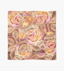 Watercolor Hand-Painted Red Yellow Autumn Fall Roses Scarf