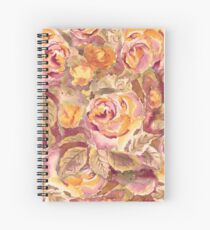 Watercolor Hand-Painted Red Yellow Autumn Fall Roses Spiral Notebook