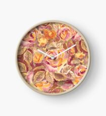 Watercolor Hand-Painted Red Yellow Autumn Fall Roses Clock