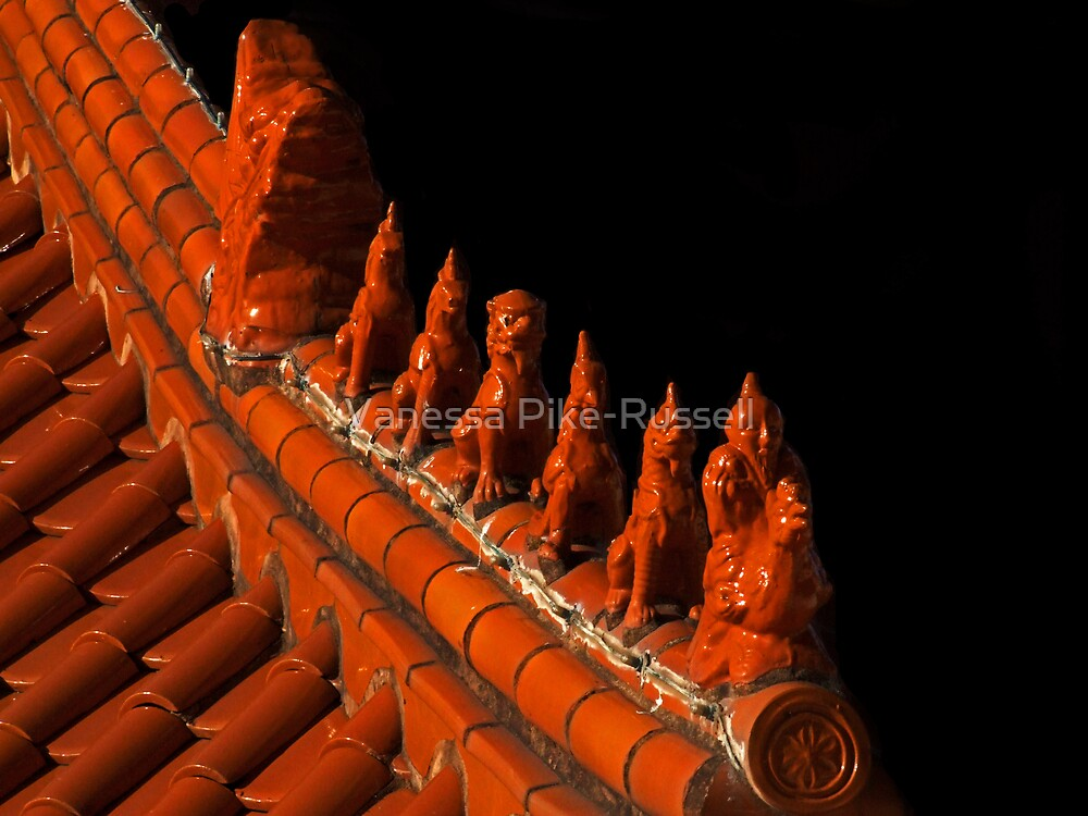 Nan Tien Buddhist Temple - Rooftop guardians II by Vanessa Pike-Russell