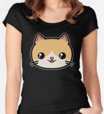 Cute Kawaii Cat Women's Fitted Scoop T-Shirt