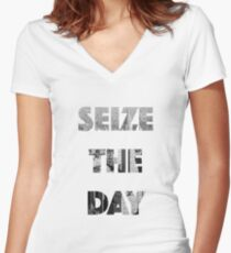 Sieze the day! Women's Fitted V-Neck T-Shirt