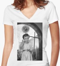 Baby Jesus Women's Fitted V-Neck T-Shirt