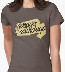 Garage Saturdays masking tape scrawl Women's Fitted T-Shirt
