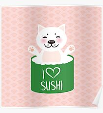 I love sushi. Kawaii funny sushi rolls and white cute cat. Pink background with japanese circle pattern Poster