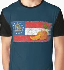 Georgia. Peach State. Flag, Distressed Graphic T-Shirt