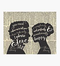 Pride and Prejudice Quote Art, Jane Austen Typography Home Decor, Book Lovers Gift Photographic Print