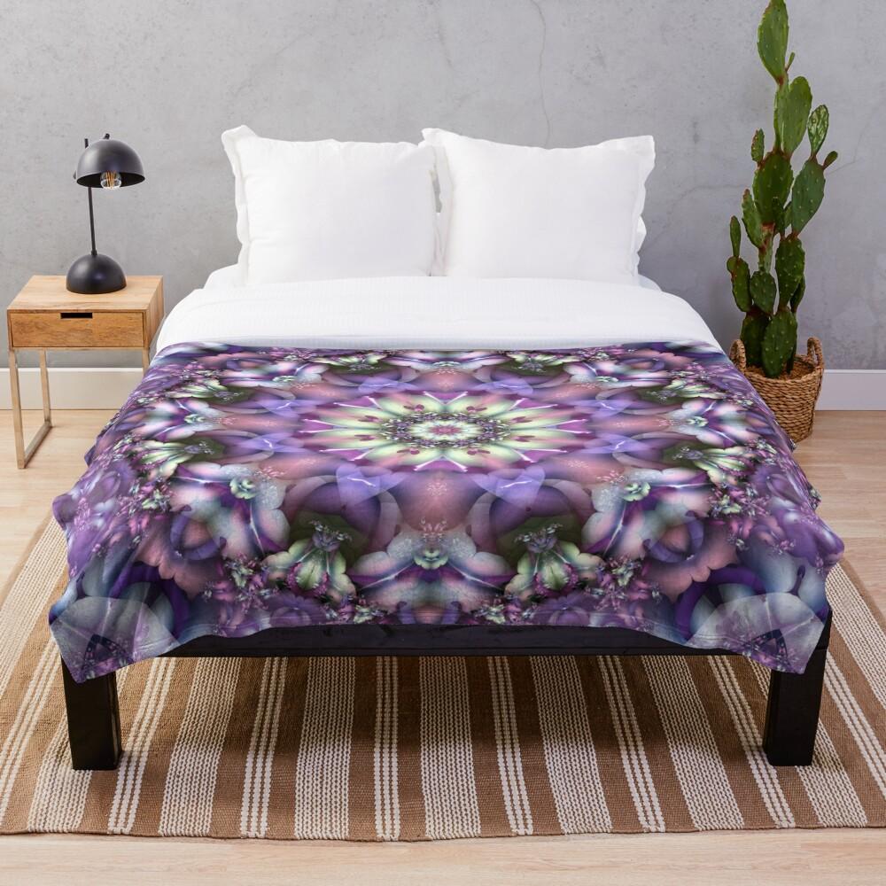 Lilac Mandala Throw Blanket