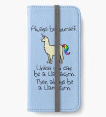 Sei immer du selbst, es sei denn du kannst ein Llamacorn sein iPhone Flip-Case/Hülle/Klebefolie