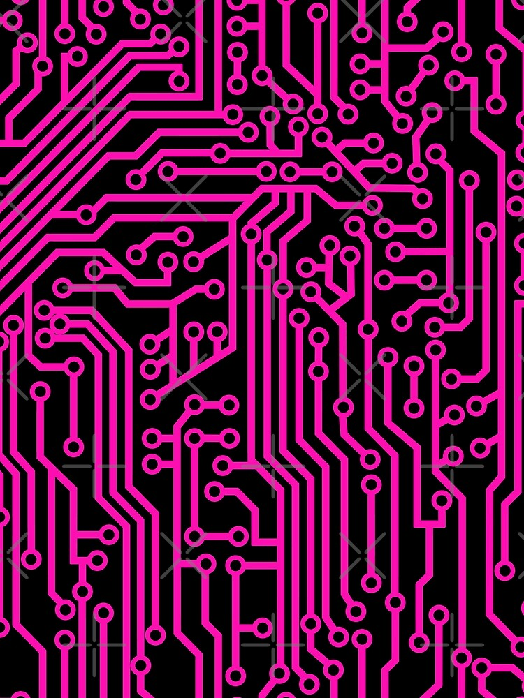 cyberpunk geek style pink and black circuit board pattern graphic t