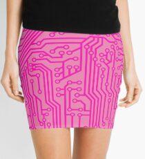 Geeky Pink Circuit Board Pattern Mini Skirt