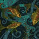 Golden Fish, Underwater Art, Black Teal Yellow by clipsocallipso