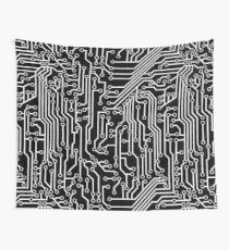 Modern Black and White Cybernetic Circuit Board Pattern Wall Tapestry