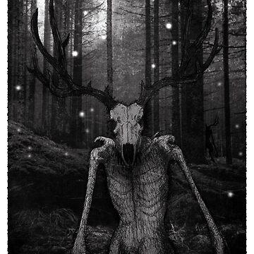 Wendigo Black and White Illustration by printisdead
