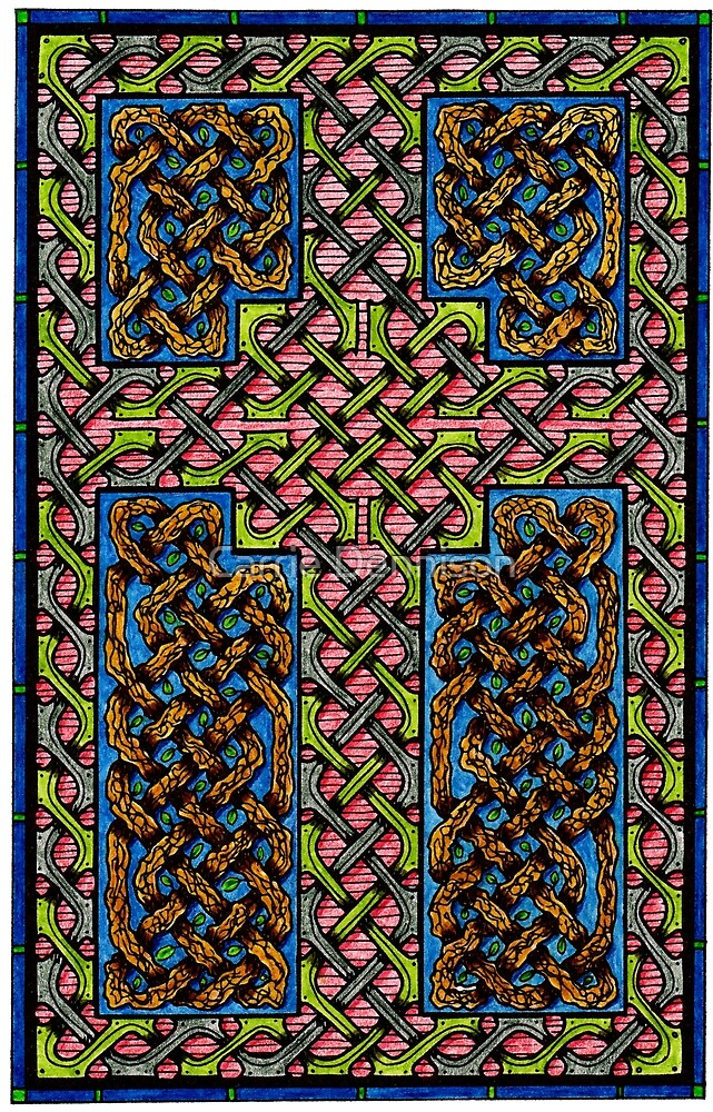 Celtic Knotwork - Cross and Branches by Carrie Dennison