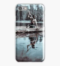 An Ojibwe Native American spearfishing, Minnesota, 1908. Infrared view iPhone Case/Skin