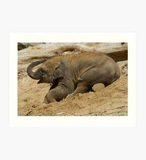 Baby elephant having fun Art Print
