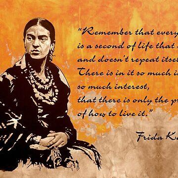FRIDA Kahlo - the mistress of ARTs - sepia orange quote by ARTito
