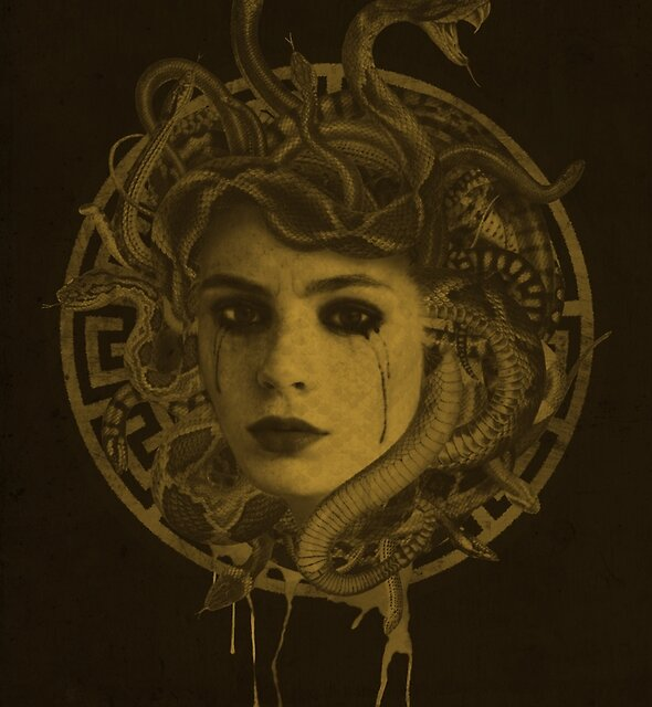 Golden Medusa Greek Mythology Illustration by Elyssa Long