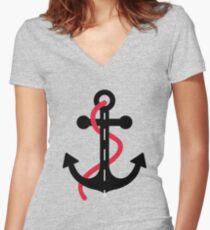 Camiseta entallada de cuello en V Ancla marinera