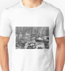 B&W Unami Creek in Winter Grays Unisex T-Shirt