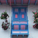 Blue  and Pink Balcony in Salento, Colombia by dare2go