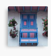 Blue  and Pink Balcony in Salento, Colombia Canvas Print