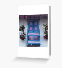 Blue  and Pink Balcony in Salento, Colombia Greeting Card
