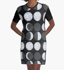 Moon Phases Chart - Dark Graphic T-Shirt Dress