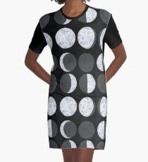 Moon Phases Chart - Dark Graphic T-Shirt Dress
