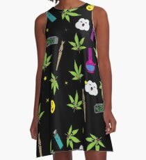 Super awesome Cute Stoner weed stuff A-Line Dress