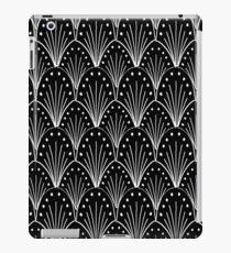 linocut 20s art deco pattern minimal black and white printmaking art iPad Case/Skin