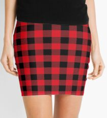 Red and Black Buffalo Plaid Pattern Mini Skirt