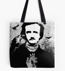 Poe with Ravens and Heart, transparent background Tote Bag