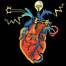 Electric Heart - Color Version, Black Background by LeftHandedLenya