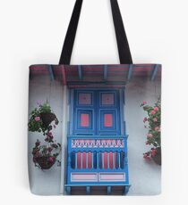 Blue  and Pink Balcony in Salento, Colombia Tote Bag