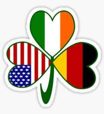 German Irish USA Flags Shamrock Sticker